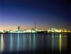 Orica Kooragang Island lit up at night, shot from across the water