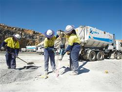 Orica employees delivering product on site