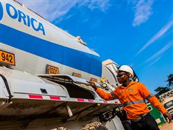 An Orica Africa employee inspects his truck
