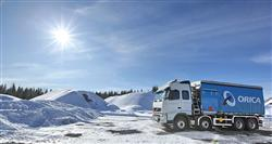 Orica truck in the snow