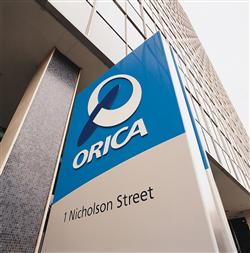 Closeup of the sign outside the Orica Head Office building in Melbourne, Australia