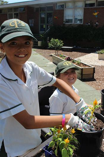 Kids in garden at Chifley Public School