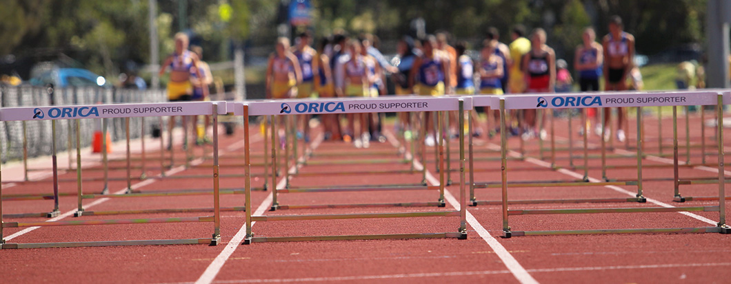 Orica sponsored hurdles at a Little Athletics Meet